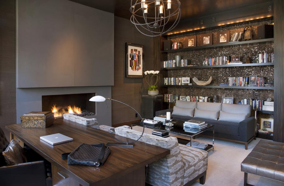 Stunning Study Rich Dark Tones Combine With Modern Furniture Books And The Warmth Of A Fireplace To Create Youll Never Want Leave